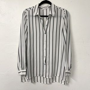 Spense Black & White Striped Sheer Tunic sz M